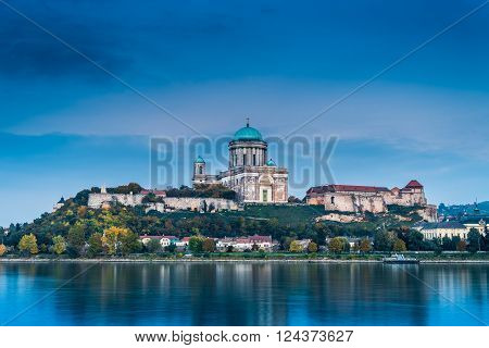Panorama of Esztergom Basilica on the Danube river