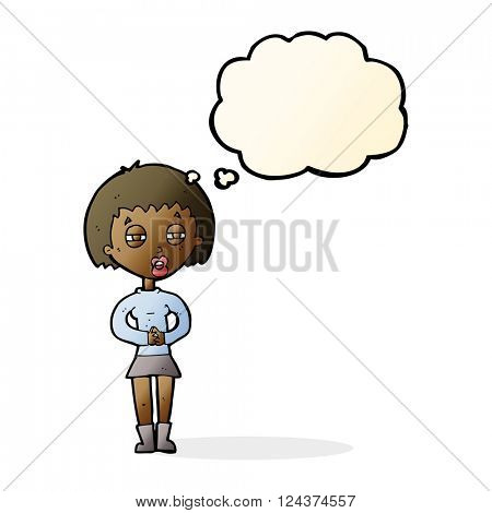 cartoon suspicious girl with thought bubble