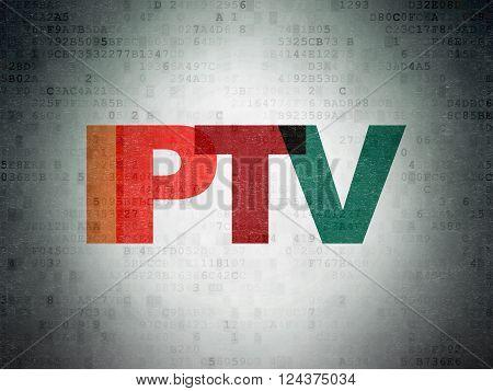 Web design concept: IPTV on Digital Paper background