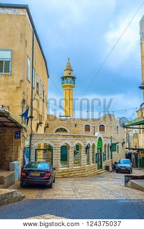 NAZARETH ISRAEL - FEBRUARY 21 2016: Al-Abiad Mosque (White mosque) is the oldest ottoman mosque in the city on February 21 in Nazareth.
