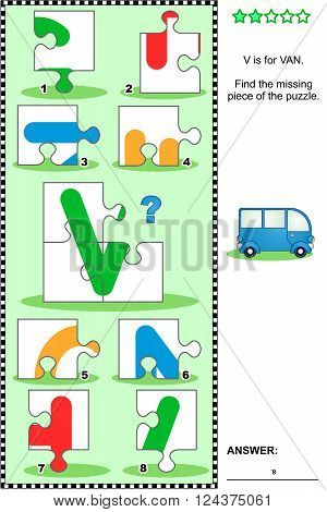 What's missing? Visual educational puzzle to learn with fun the letters of English alphabet: letter V (V is for van). Answer included.