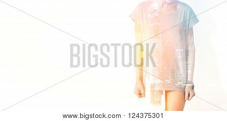 Closeup Photo Of Stylish Girl Wearing Blank T-shirt And Looking Down. Double Exposure, Panoramic Vie