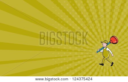 Business card showing illustration of a plumber carrying plunger on shoulder walking viewed from the side set on isolated white background done in cartoon style.