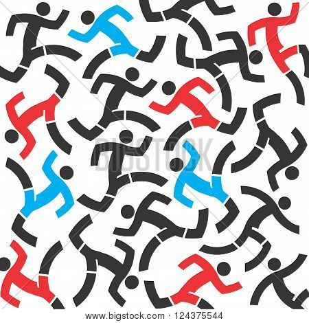 Decorative background with icons of running people symbolizing chaos and rush. Vector available.