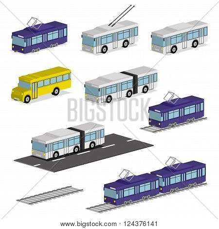 Trolley bus, tram, bus and school bus.