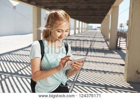 Sport, Training, Technology, Fitness And Lifestyle Concept. Young Asian Woman Wearing Sports Wear Lo
