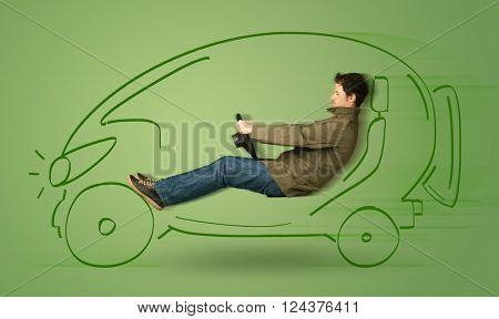 Man drives an eco friendy electric hand drawn car concept