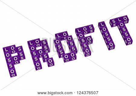 Word Profit written with blocks with letters L,O,S, isolated on white background. 3D render.