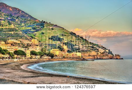 View of Maiori on the Amalfi coast in Campania, Italy