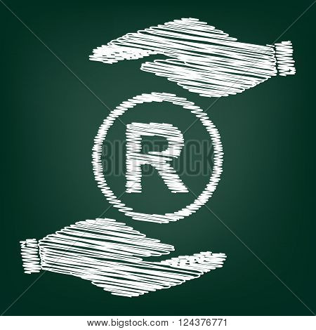 Registered Trademark sign. Flat style icon with scribble effect