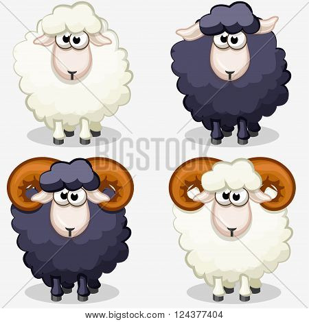 cartoon black and white sheep in vectors