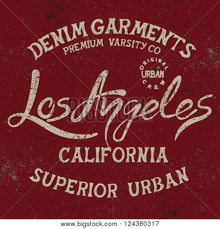 Vintage trademark with Los Angeles City text .Grunge effect.Typography design for t-shirts