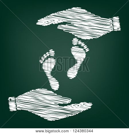 Foot prints sign. Flat style icon with scribble effect