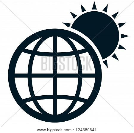Sunrise in space. Sun rising over Earth vector illustration isolated