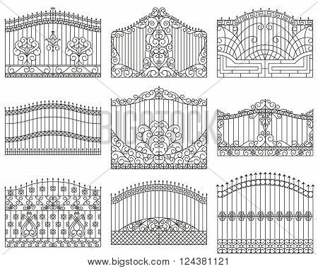 Forged gates set.  Decorative metal gates with swirls, arrows and ornaments. Linear design. Vector outline illustration isolated on white
