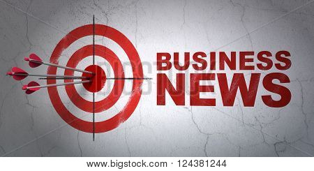 News concept: target and Business News on wall background