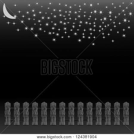 silhouette fence and moon in night time vector