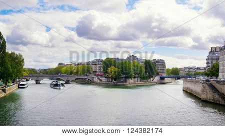 View from the Bridge Arcole on the the Saint Louis Island Paris France.