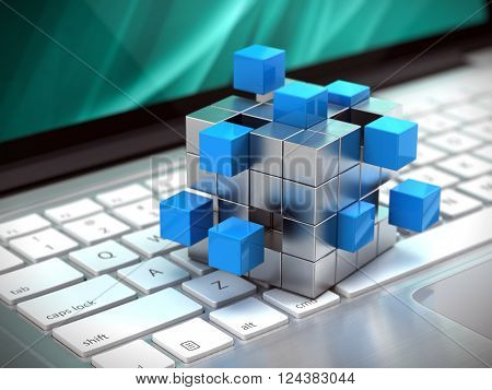 teamwork business concept - cube assembling from blocks on laptop keyboard. 3d rendering
