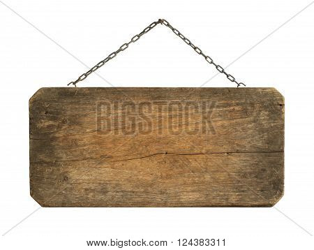 Wooden sign hanging isolated on white background