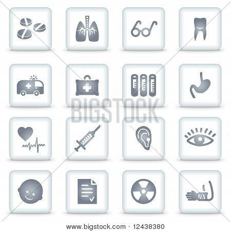 Medicine Vector Web Icons, White Square Buttons