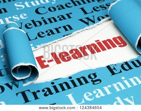 Education concept: red text E-learning under the piece of  torn paper