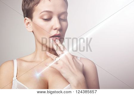 Woman With A Rey Of Laser, Sun On A Breast