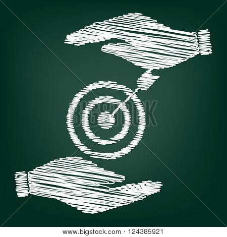 Target with dart. Flat style icon with scribble effect