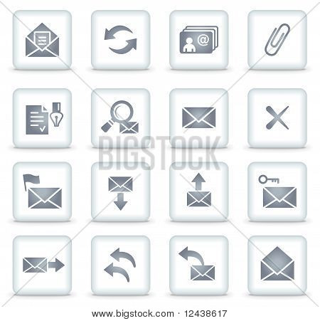 E-mail Vector Web Icons, White Square Buttons
