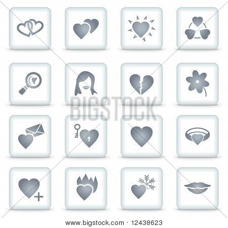 Dating Vector Web Icons, White Square Buttons
