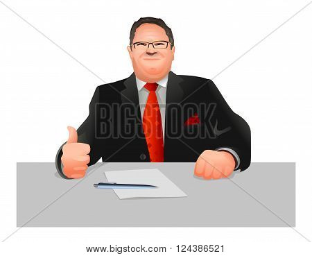 Vector illustration of a official at workplace