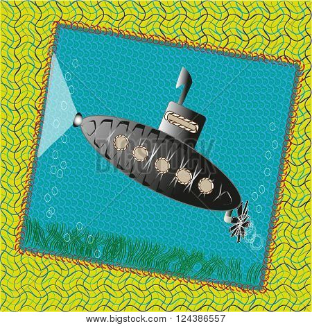 Picture funny submarine Drawing funny submarine is ready to surface the light from the illuminator illuminates the path to the depths of the ocean
