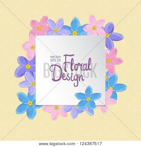 Floral vector frame. Forget-me-not flowers and place for your text on yellow background.