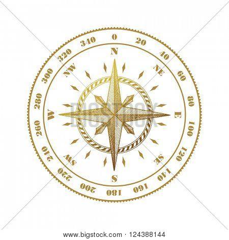 Hand drawn compass wind rose symbol. Vector traveller tool. Vintage illustration