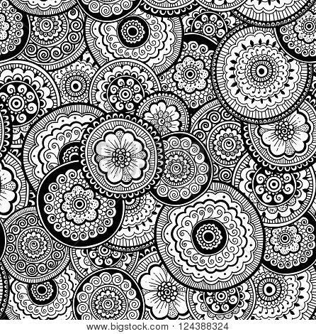 Decorative nature ornamental seamless pattern. Zen-tagle style and mehndi style.