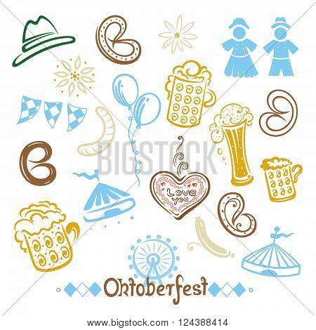 Oktoberfest vector set, edelweiss, pretzel, beer, clothes and hat.
