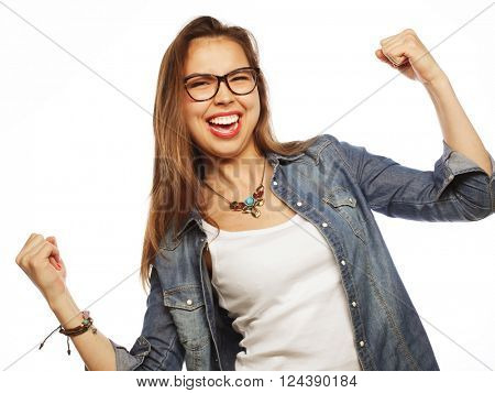 happy excited woman celebrating her success.