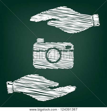 Digital photo camera icon. Flat style icon with scribble effect