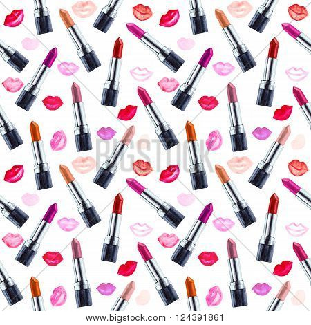 Seamless watercolor pattern with lipstick aquarelle colored lipstick. Hand drawn cosmetics background. Fashion glamour pattern. Illustration for your design