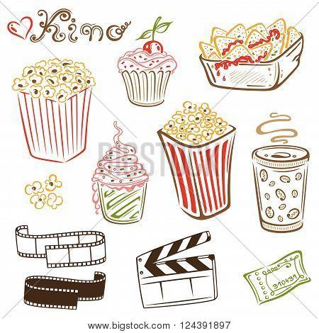 Cinema food, popcorn, ice cream, nachos and drinks.