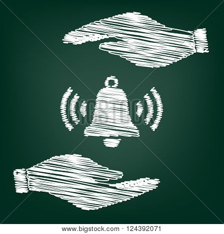 Ringing bell icon. Flat style icon with scribble effect