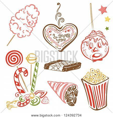 Colorful funfair and circus vector set, sweets and snacks.