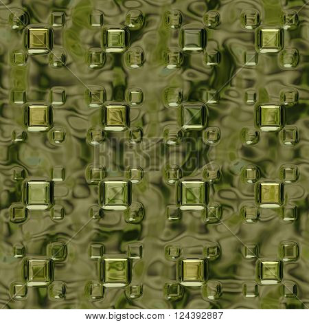 Golden metallic texture with squares - abstract background