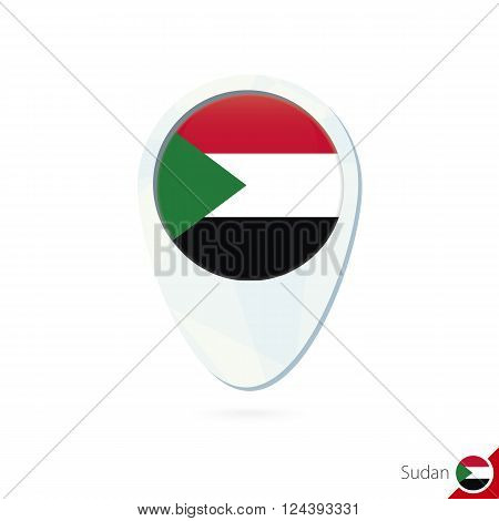 Sudan Flag Location Map Pin Icon On White Background.