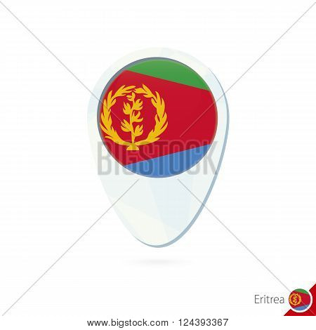 Eritrea Flag Location Map Pin Icon On White Background.