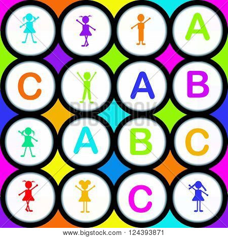 ABC seamless background with letters and cartoon kids