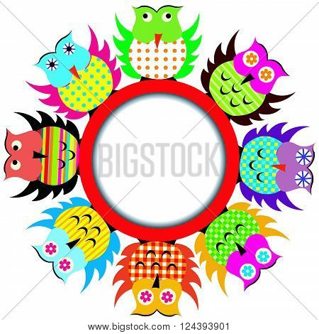 Round frame with colorful cartoon owls on white background