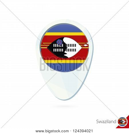 Swaziland Flag Location Map Pin Icon On White Background.