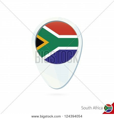 South Africa Flag Location Map Pin Icon On White Background.