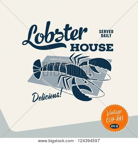Vintage style Clip Art - Lobster House - Vector EPS10.